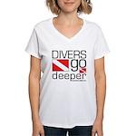Divers go Deeper Women's V-Neck T-Shirt