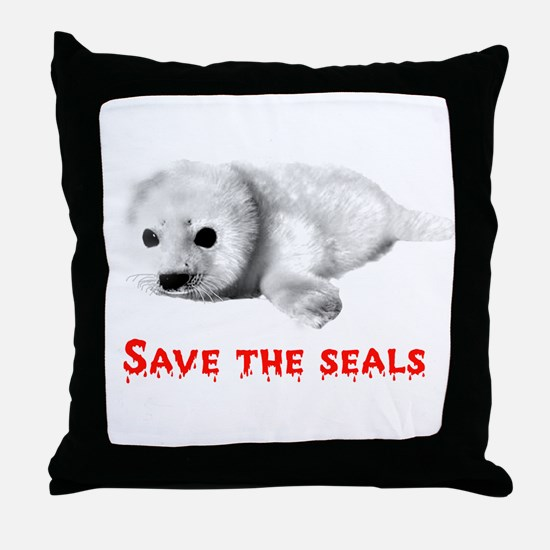 Save the Baby Harp Seals Throw Pillow