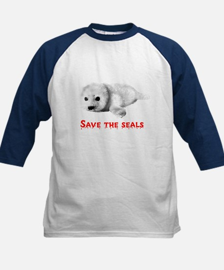 Save the Baby Harp Seals Kids Baseball Jersey