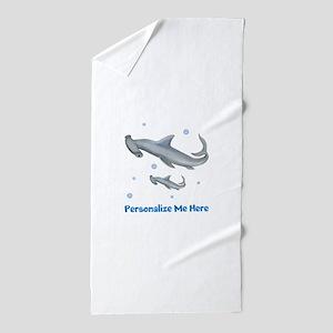 Personalized Hammerhead Shark Beach Towel