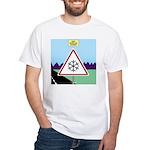 Giant Snowflake Warning White T-Shirt