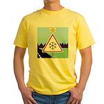 Giant Snowflake Warning Yellow T-Shirt