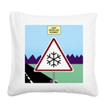 Giant Snowflake Warning Square Canvas Pillow