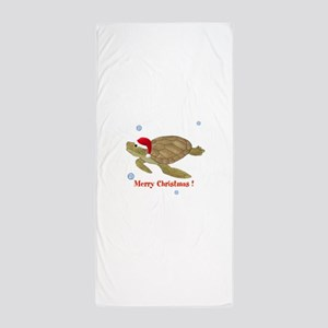 Personalized Christmas Turtle Beach Towel