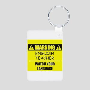WARNING: English Teacher Aluminum Photo Keychain