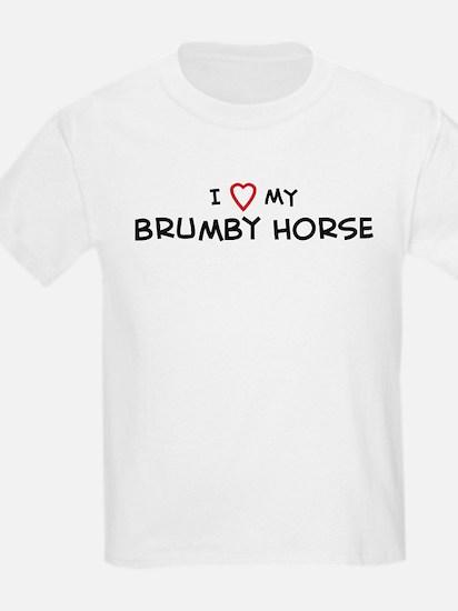 I Love Brumby Horse Kids T-Shirt