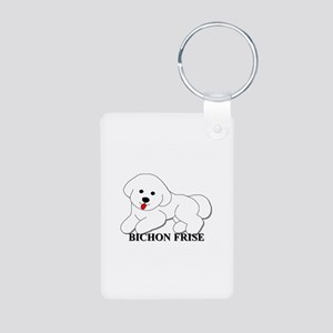 Cartoon Bichon Frise Aluminum Photo Keychain