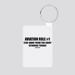 AVIATION RULE #1 Aluminum Photo Keychain