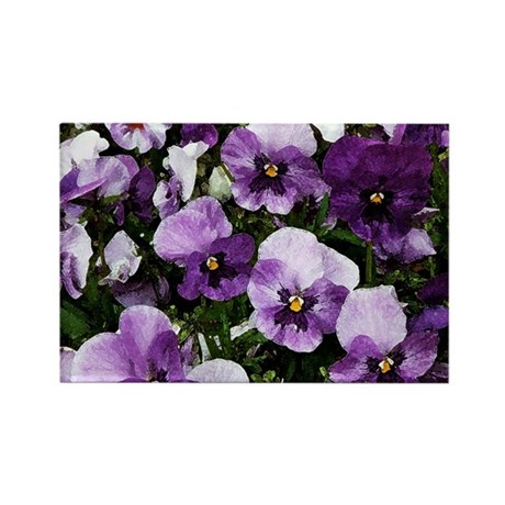 Pansies After a Rain Rectangle Magnet