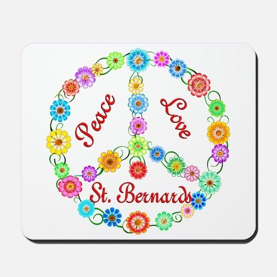 Peace Love St. Bernards Mousepad