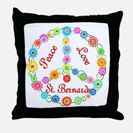 Peace Love St. Bernards Throw Pillow