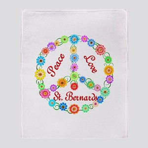 Peace Love St. Bernards Throw Blanket