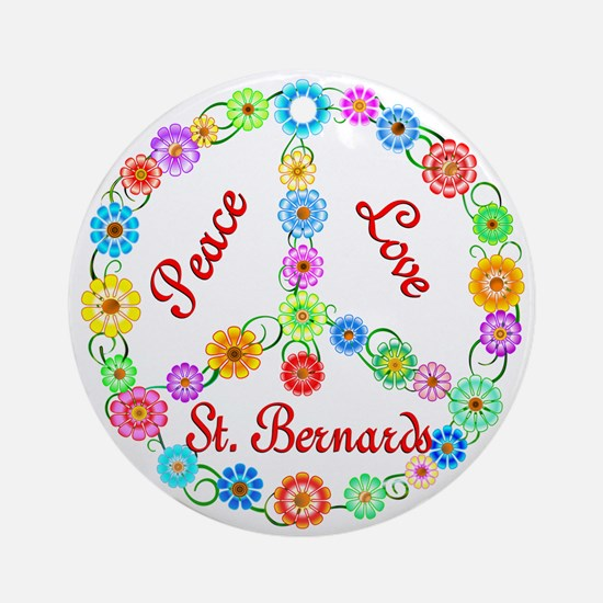 Peace Love St. Bernards Ornament (Round)