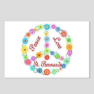 Peace Love St. Bernards Postcards (Package of 8)