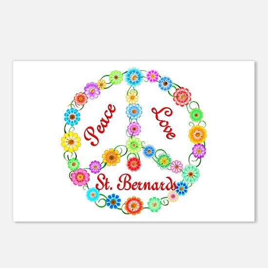 Peace Love St. Bernards Postcards (Package of 8)
