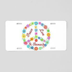 Peace Love St. Bernards Aluminum License Plate