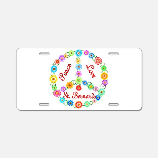Peace Love St. Bernards Aluminum License Plate