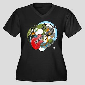 Les Paul Women's Plus Size V-Neck Dark T-Shirt