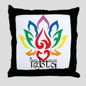 LGBTQ Lotus Flower Throw Pillow