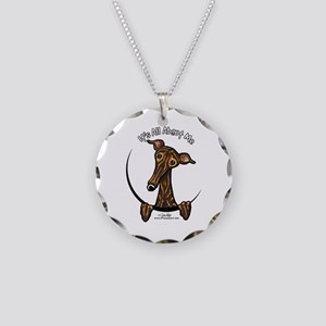Brindle Greyhound IAAM Necklace Circle Charm