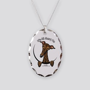 Brindle Greyhound IAAM Necklace Oval Charm