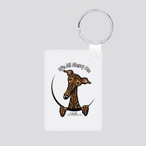 Brindle Greyhound IAAM Aluminum Photo Keychain