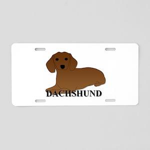 Cartoon Dachshund Aluminum License Plate
