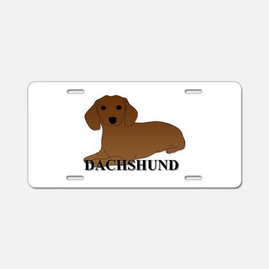 Cartoon Dachshund Aluminum License Plate