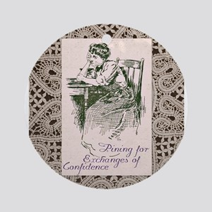 Sad Edwardian Woman Ornament (Round)