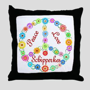 Peace Love Schipperkes Throw Pillow