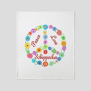 Peace Love Schipperkes Throw Blanket