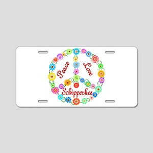 Peace Love Schipperkes Aluminum License Plate