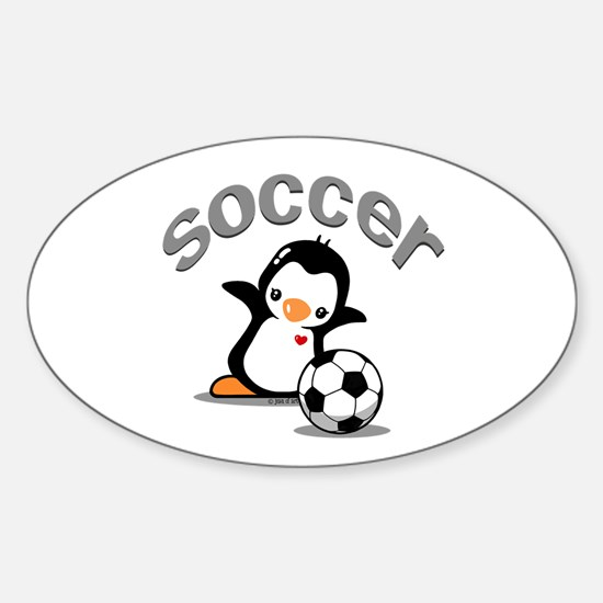 Soccer Penguin (6) Sticker (Oval)