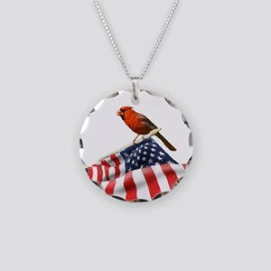USA Cardinal Necklace Circle Charm