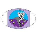 snow leopard Sticker (Oval)