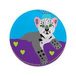 """snow leopard 3.5"""" Button (100 pack)"""