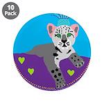 """snow leopard 3.5"""" Button (10 pack)"""