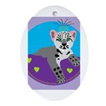 snow leopard Ornament (Oval)