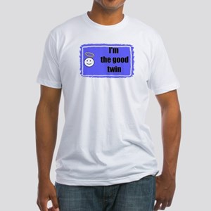 I'M THE GOOD TWIN (BLUE BACKGROUND) Fitted T-Shirt