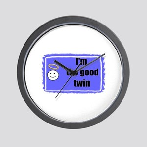 I'M THE GOOD TWIN (BLUE BACKGROUND) Wall Clock
