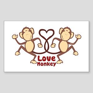 Love Monkey Rectangle Sticker