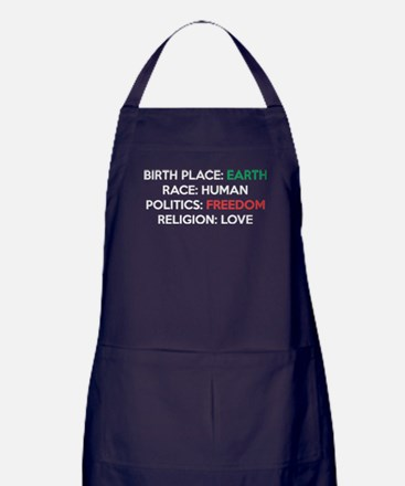Birth Place Earth Race Human Religion Apron (dark)