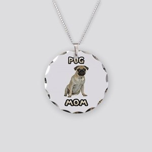 Pug Mom Necklace Circle Charm
