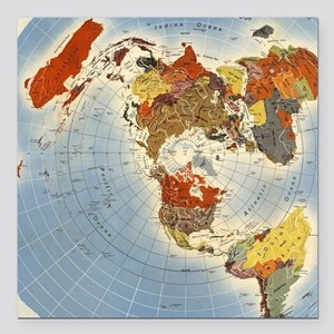 Square Earth Map.Azimuthal Equidistant Air Age Flat Earth Map Car Accessories Cafepress