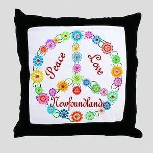 Peace Love Newfoundlands Throw Pillow