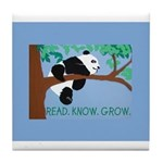 Panda says Read.Know.Grow. Tile Coaster