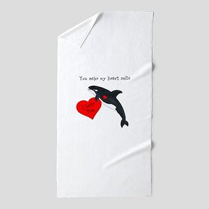 Personalized Whale Valentine Beach Towel