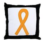 Orange Ribbon Throw Pillow