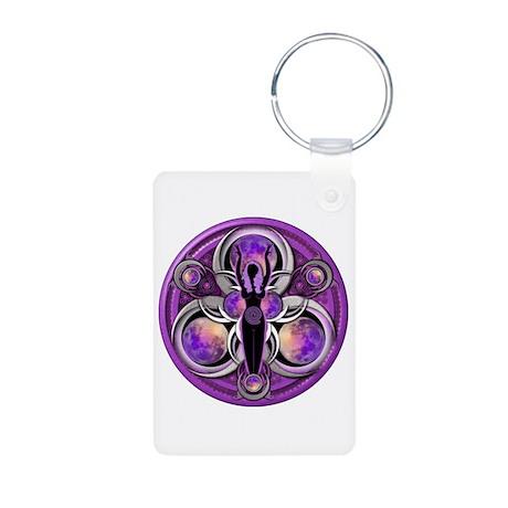 Goddess of the Purple Moon Aluminum Photo Keychain