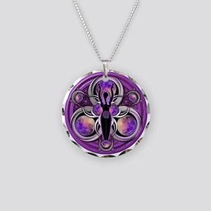 Goddess of the Purple Moon Necklace Circle Charm